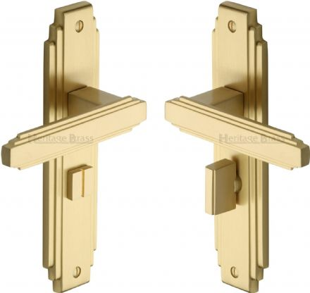M Marcus Heritage Brass AST5930SB Astiora Door Handle on Bathroom Backplate Satin Brass